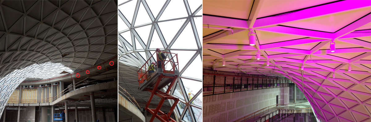 Pictures from the ongoing installation of lighting in Bory Mall, Bratislava
